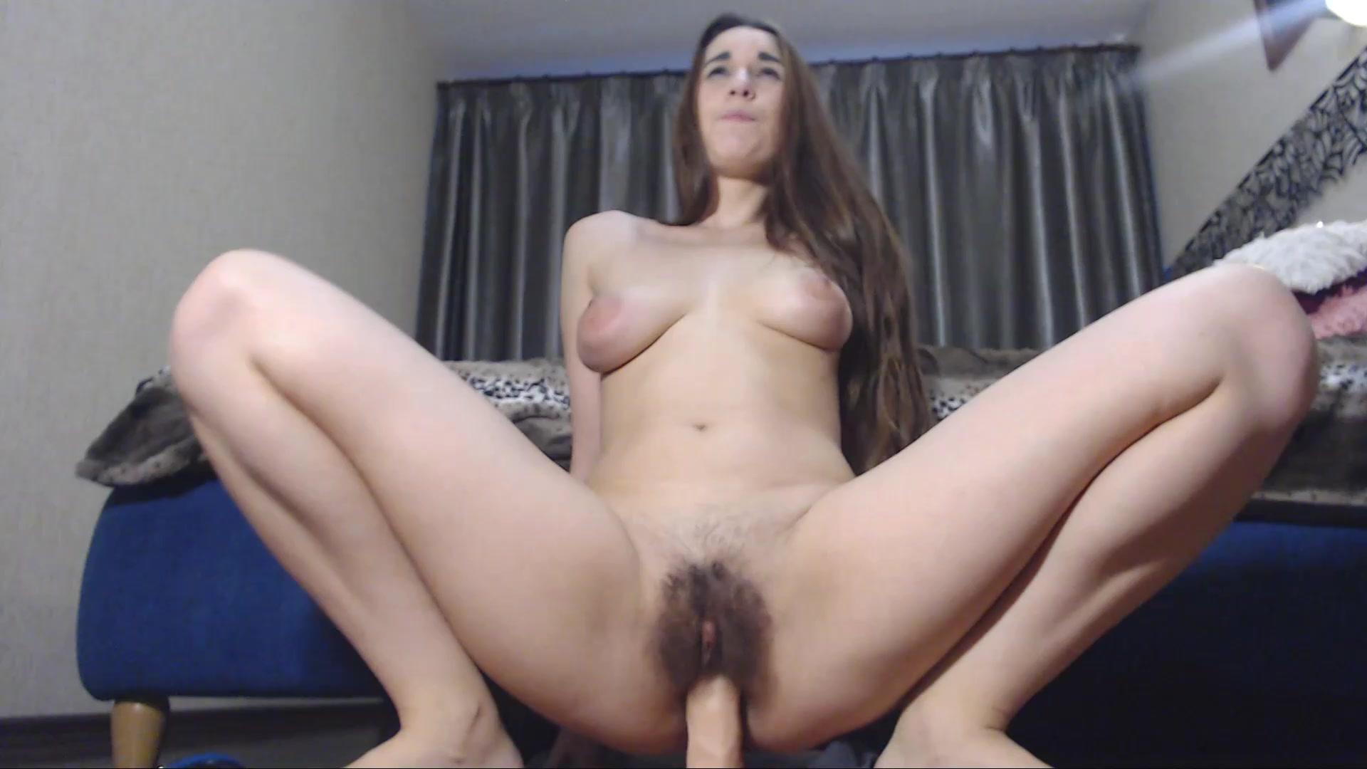 Hairy Pussy Dildo Masturbation